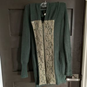 Free People forest green zip up sweater